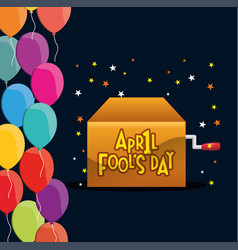 April fools day box star balloons celebration vector