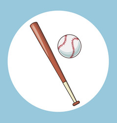 Baseball bat and ball equipment icon vector