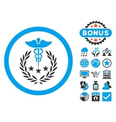Caduceus Logo Flat Icon with Bonus vector image