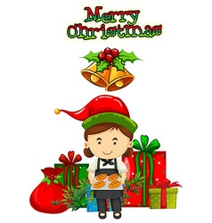 Christmas card design with baker and presents vector