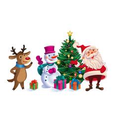 christmas card with santa reindeer and snowman vector image