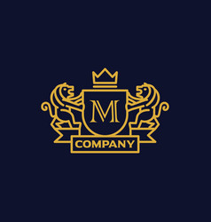 Coat of arms letter m company vector