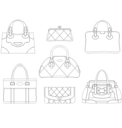 Contours of women bags vector image vector image