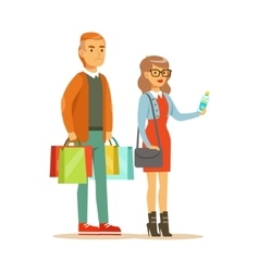 Couple with multiple clothing outlet bags shopping vector