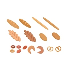 Different types of bread set in flat design vector