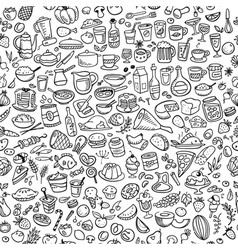 doodle food icons seamless background vector image