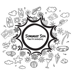 doodle monochrome summer vacation elements set vector image