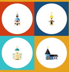 Flat icon christian set of church christian vector