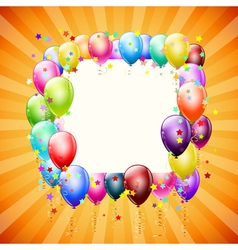 frame with balloons vector image vector image