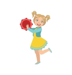 Girl with ponytails playing tambourine vector