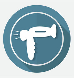 Hair dryer on white circle with a long shadow vector