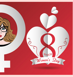 Happy womens day card hearts march 8 vector