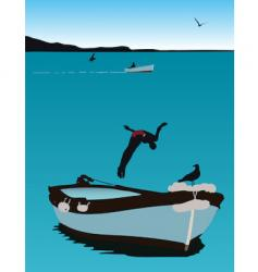 Jumping from a boat vector