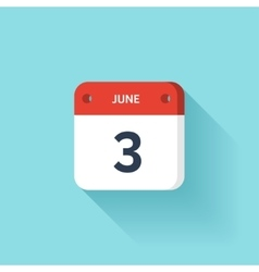 June 3 isometric calendar icon with shadow vector