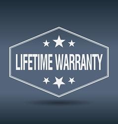 Lifetime warranty hexagonal white vintage retro vector