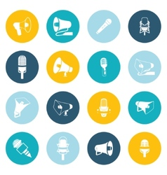 Microphone and megaphone icons flat vector image
