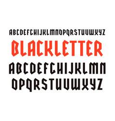 Narrow sanserif font in black letter style vector