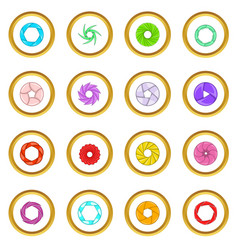 Photo diaphragm icons circle vector