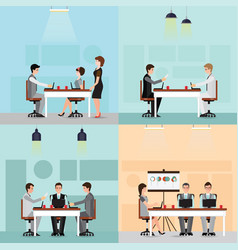set of business people working in the office vector image vector image