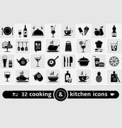 Set of cooking kitchen tools food and drinks vector