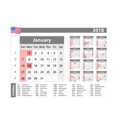 Simple calendar 2018 - one year at a glance - vector