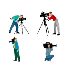 six videographers set vector image