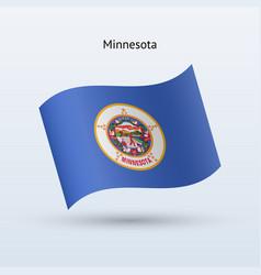State of minnesota flag waving form vector