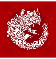 Stylized twisted dragon tattoo vector