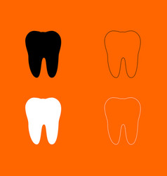 tooth black and white set icon vector image