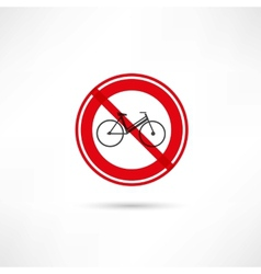 travel by bicycle is prohibited icon vector image vector image