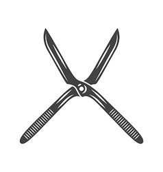 Wide open old fashioned hand hedge trimmer Black vector image
