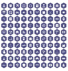 100 activity icons hexagon purple vector