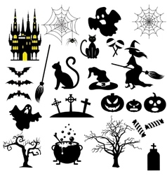 Halloween black and white icons set vector