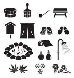 Hot Spring Objects Icons Set Monochrome vector image