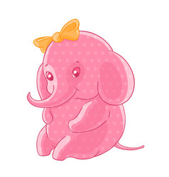 the blushing pink girl elephant in the hearts and vector image