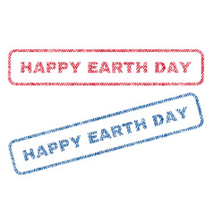 Happy earth day textile stamps vector