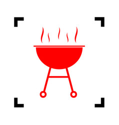 Barbecue simple sign  red icon inside vector