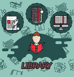 Library flat concept icons vector