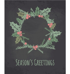 Chalkboard style christmas wreath greeting card vector