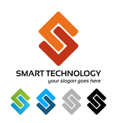 Smart tech logo work vector image