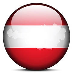 Map on flag button of republic of austria vector