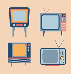 Retro tv items set vector