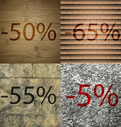 65 55 5 icon set of percent discount on abstract vector