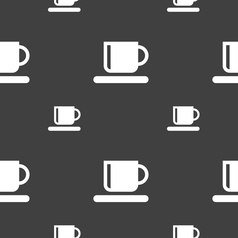 Coffee cup icon sign seamless pattern on a gray vector