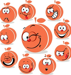 Peach or apricot icon cartoon with funny faces vector
