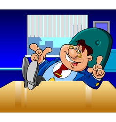 Cartoon male director in the office vector