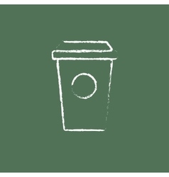 Disposable cup icon drawn in chalk vector
