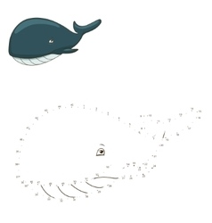 Connect the dots to draw game whale vector