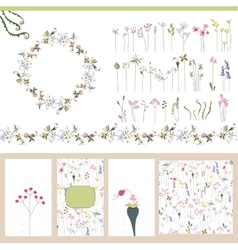 Floral summer templates vector