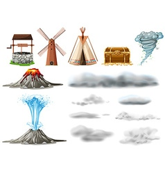 Different types of objects and clouds vector image